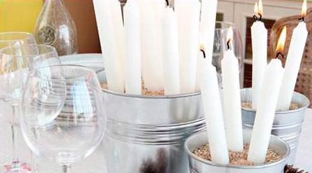 Cubo con velas para Navidad