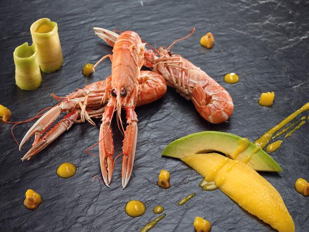 Cigalas asadas con mango y aguacate