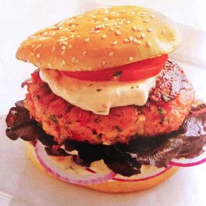 Hamburguesa de pollo con mayonesa de pimiento