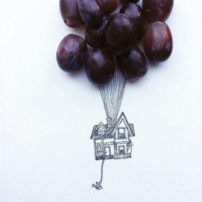 Ilustraciones con alimentos, de Kristián Mensa