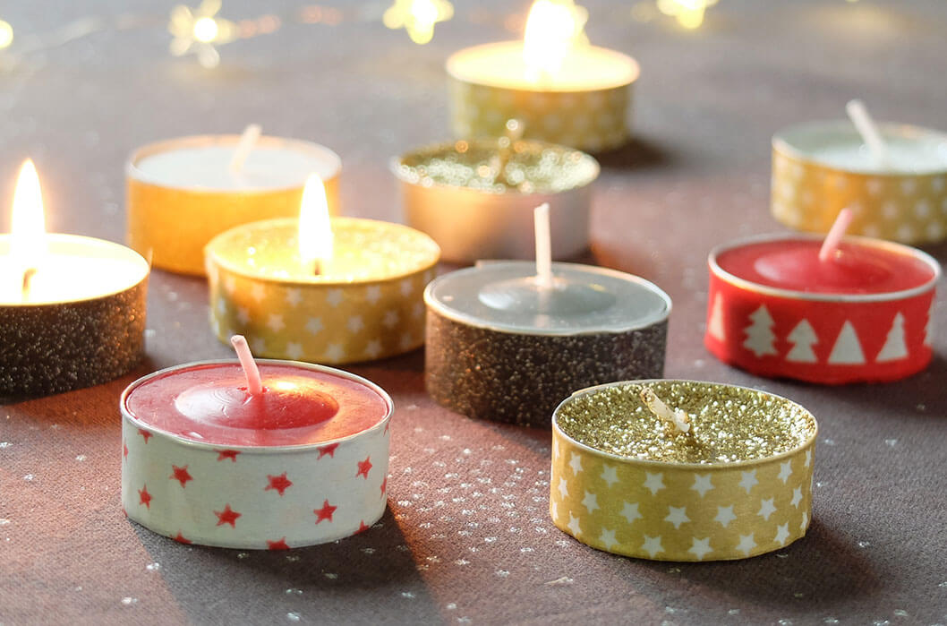 C mo decorar las velas con washi tape trucos dulces for Decorar jarrones con velas